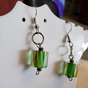 Silver Tone Hook Glass Cylinder Bead Earrings NWT